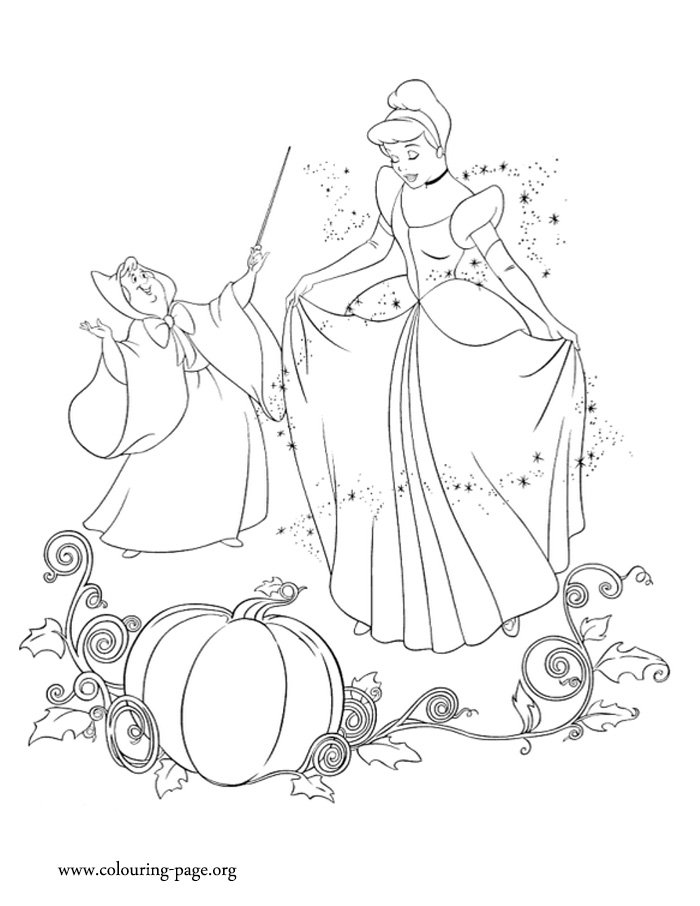 Godmother Fairy using her magic in Cinderella coloring page