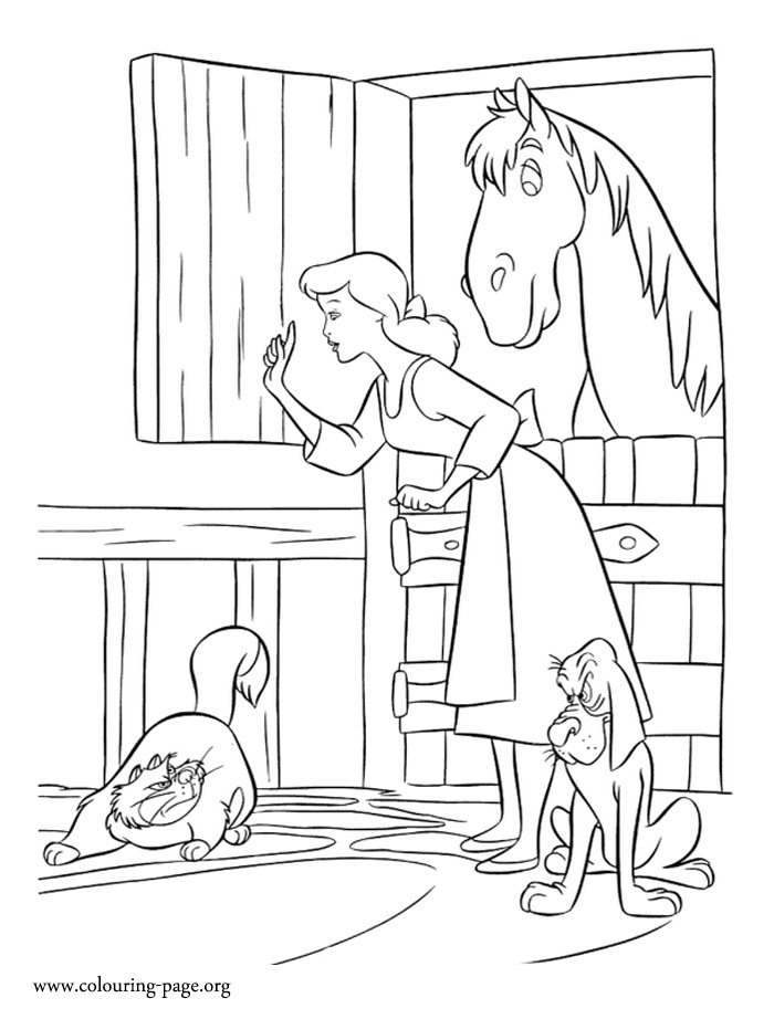 Cinderella protecting her friends coloring page