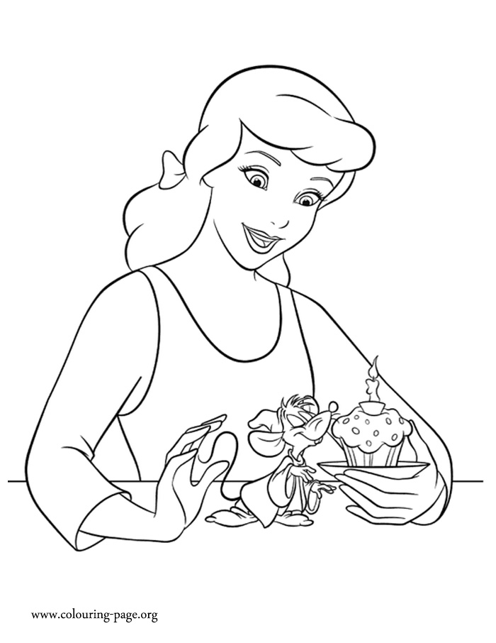 Cinderella and her friend Jaq coloring page