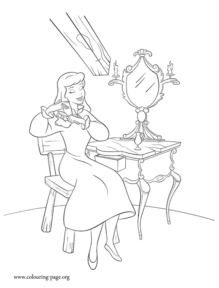 Cinderella brushing her hair coloring page