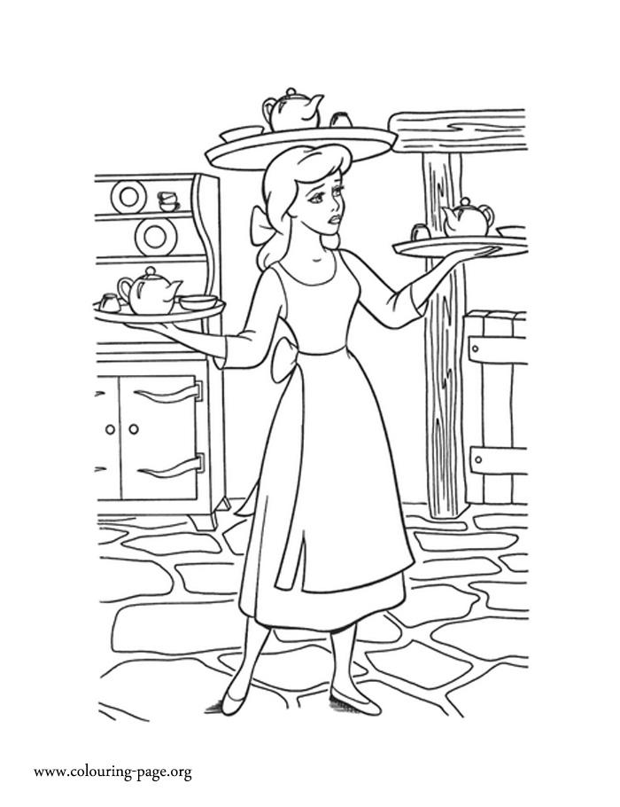 Cinderella - Cinderella working hard coloring page
