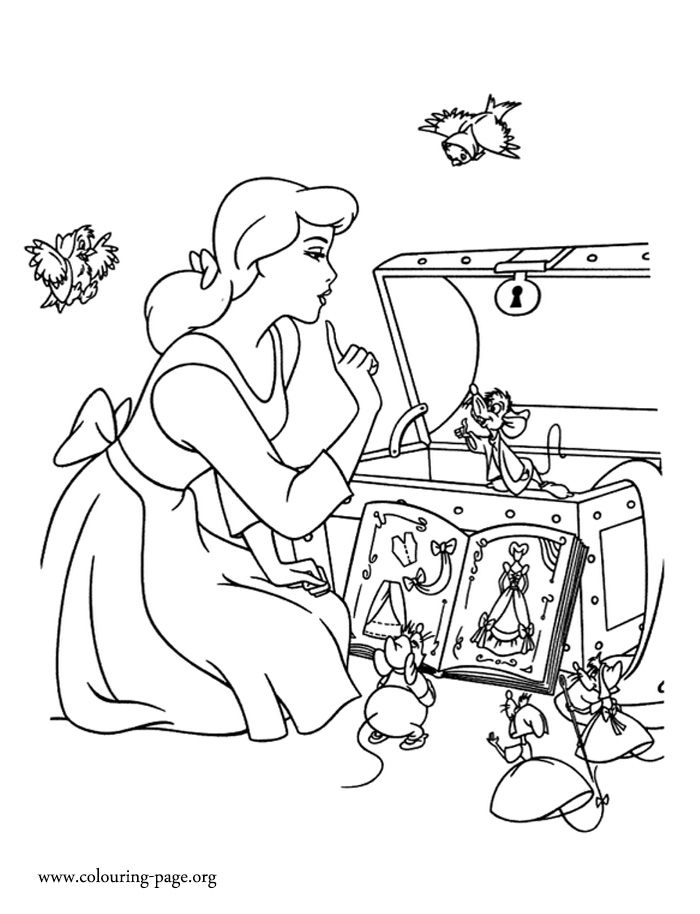 Cinderella and her mice and bird friends coloring page