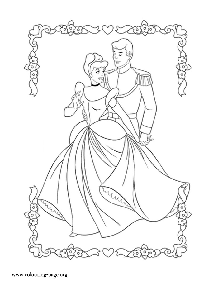 Cinderella and Prince Charming coloring page