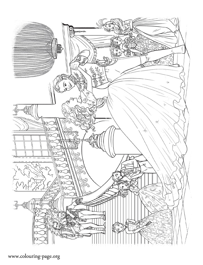 Cinderella at the Grand Ball coloring page