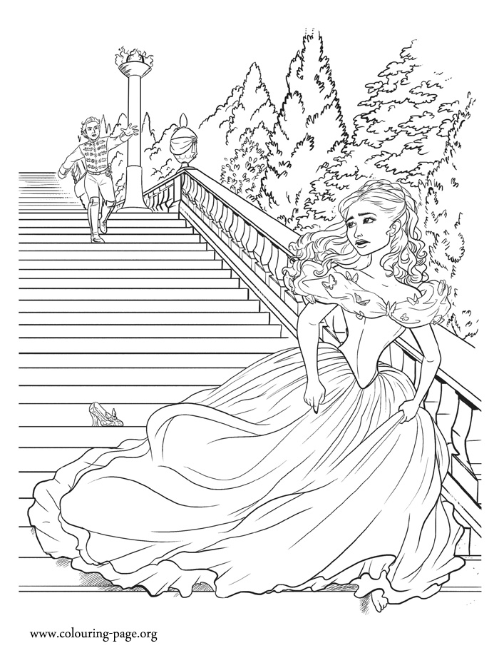 Cinderella running away from the prince coloring page