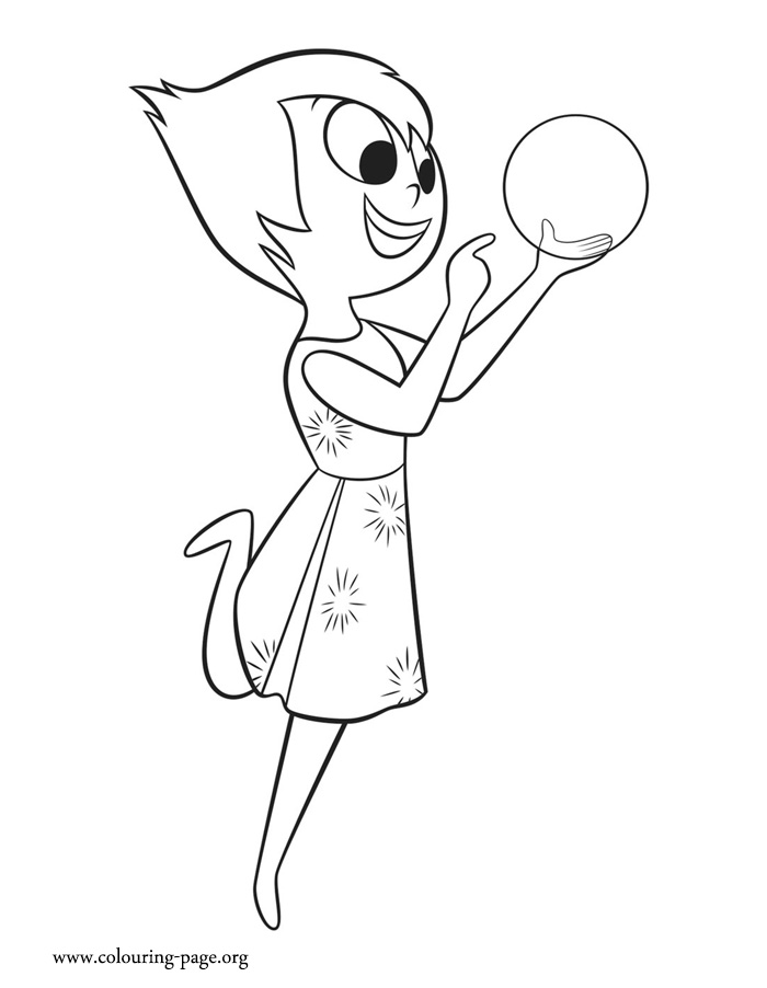 Joy with a glowing light coloring page