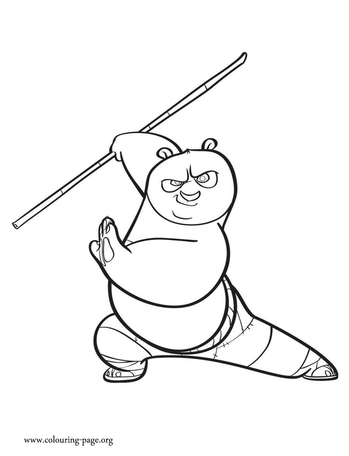 Po, the legendary Dragon Warrior coloring page