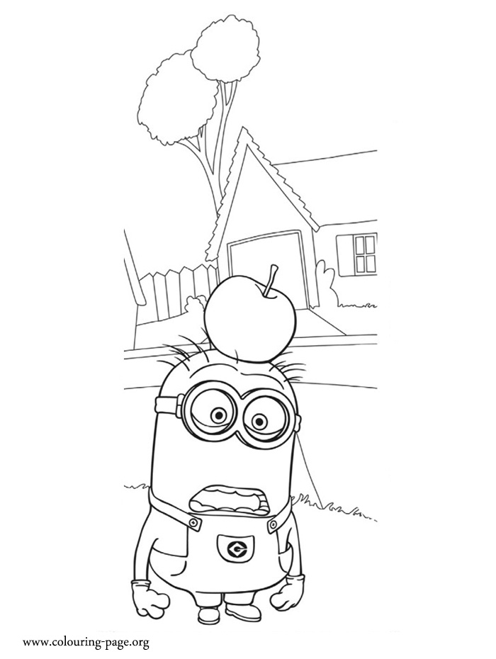 Tom with an apple on head coloring page