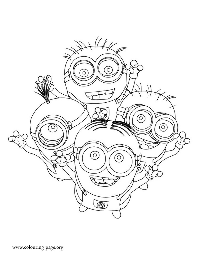 Minions - Dave, Kevin, Jerry and Phil coloring page