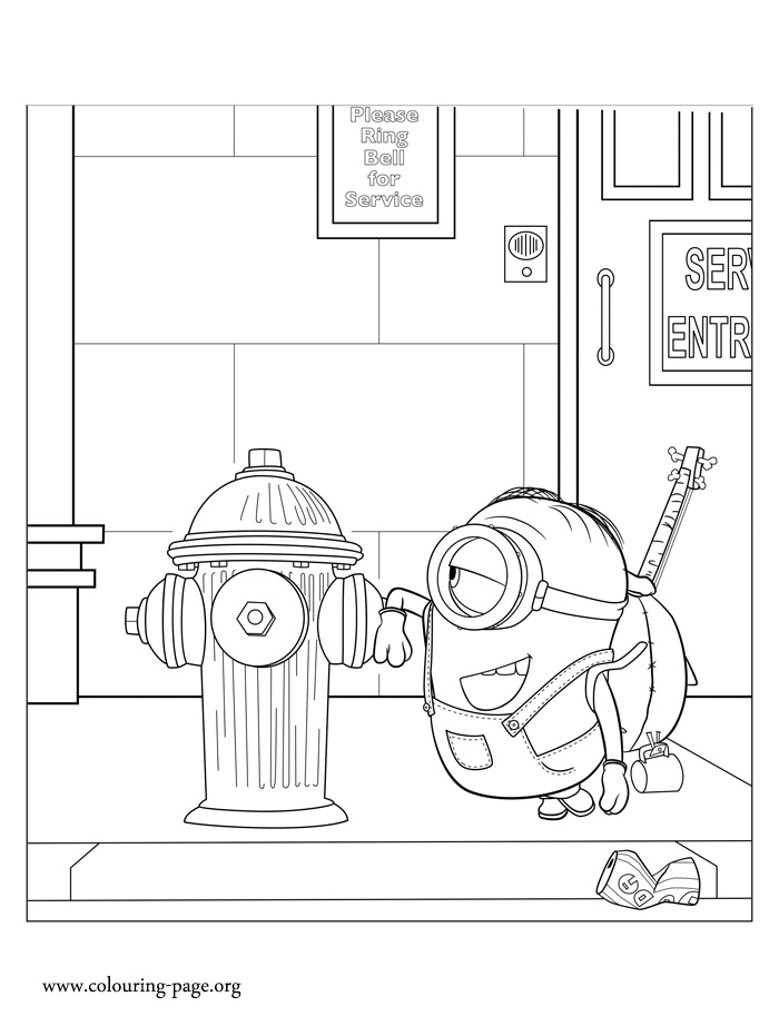 Minions Stuart and a fire hydrant coloring page