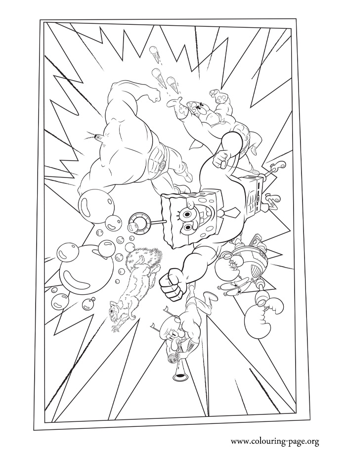 The SpongeBob team coloring page