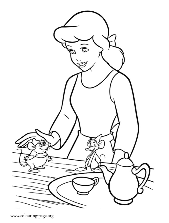 Cinderella, Gus and Jaq coloring page