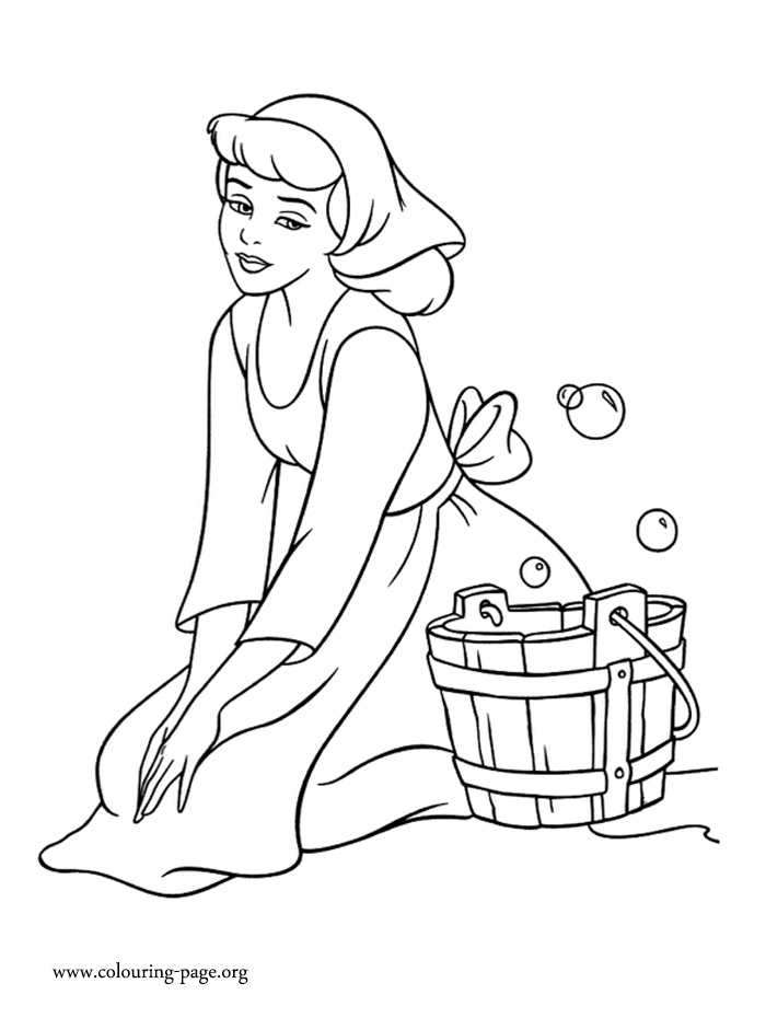 Cinderella as a housemaid coloring page