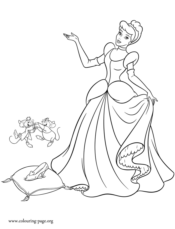 Cinderella and her glass slipper coloring page