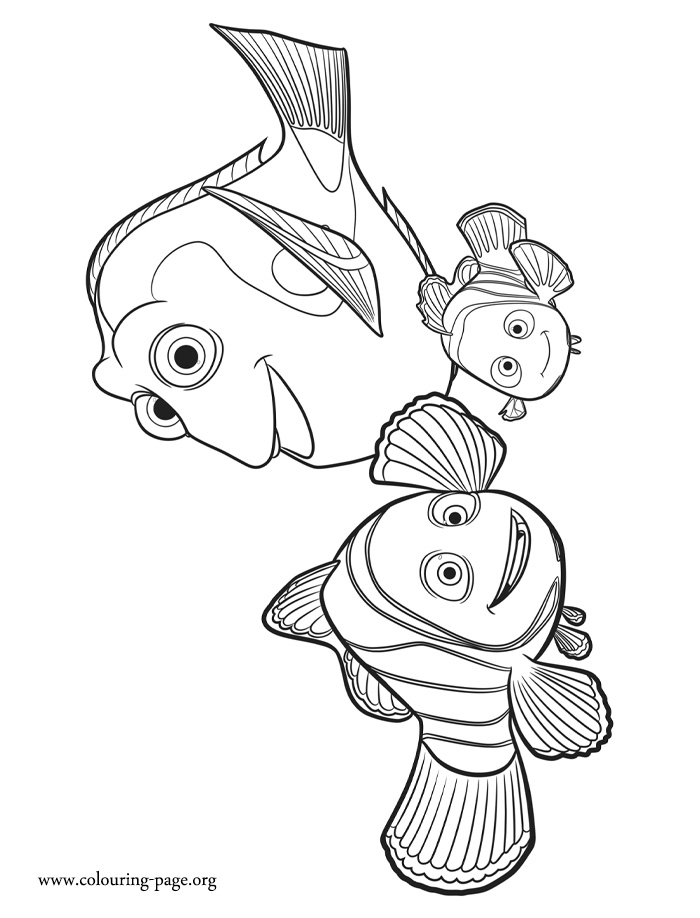 Marlin, Nemo and Dory coloring page