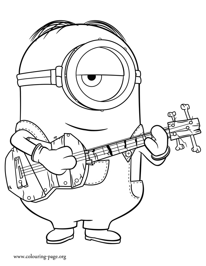 Minions Stuart Playing Guitar Coloring Page